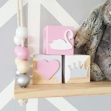 INS北欧风天鹅钻石独角兽木质方块实木玩具摆件创意装饰