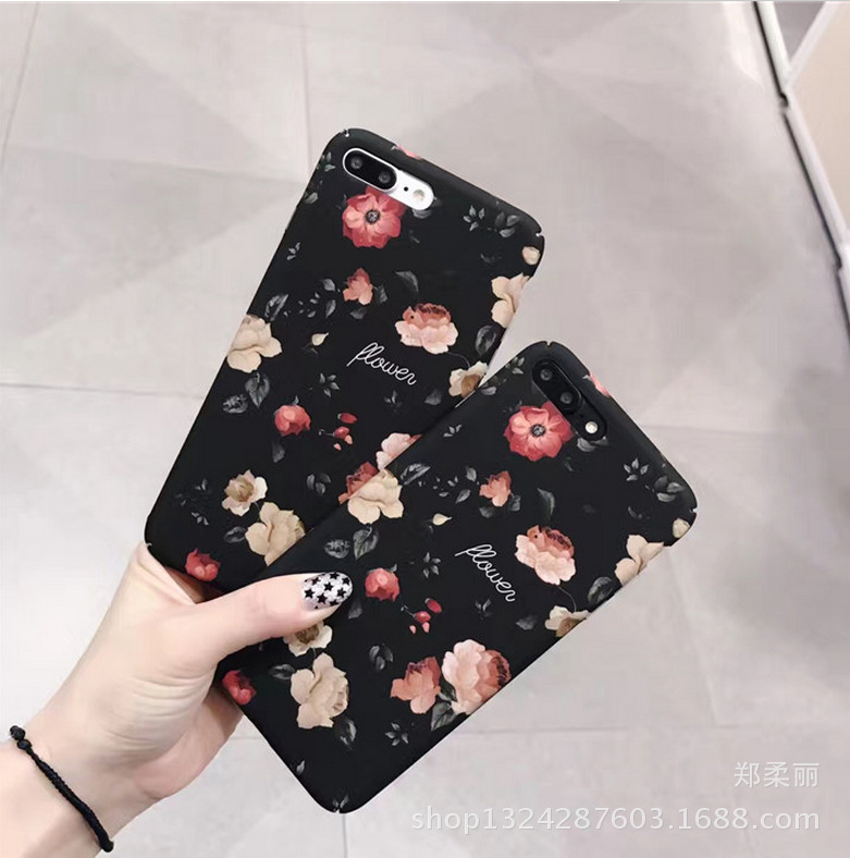 Literary retro rose matte shell Apple 6s mobile phone shell iphone6p / 7plus hard shell protective cover female models
