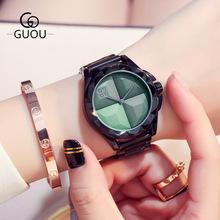 古欧GUOU简约玫瑰黑框盘女手表学生腕表钢带石英表一件代发8815