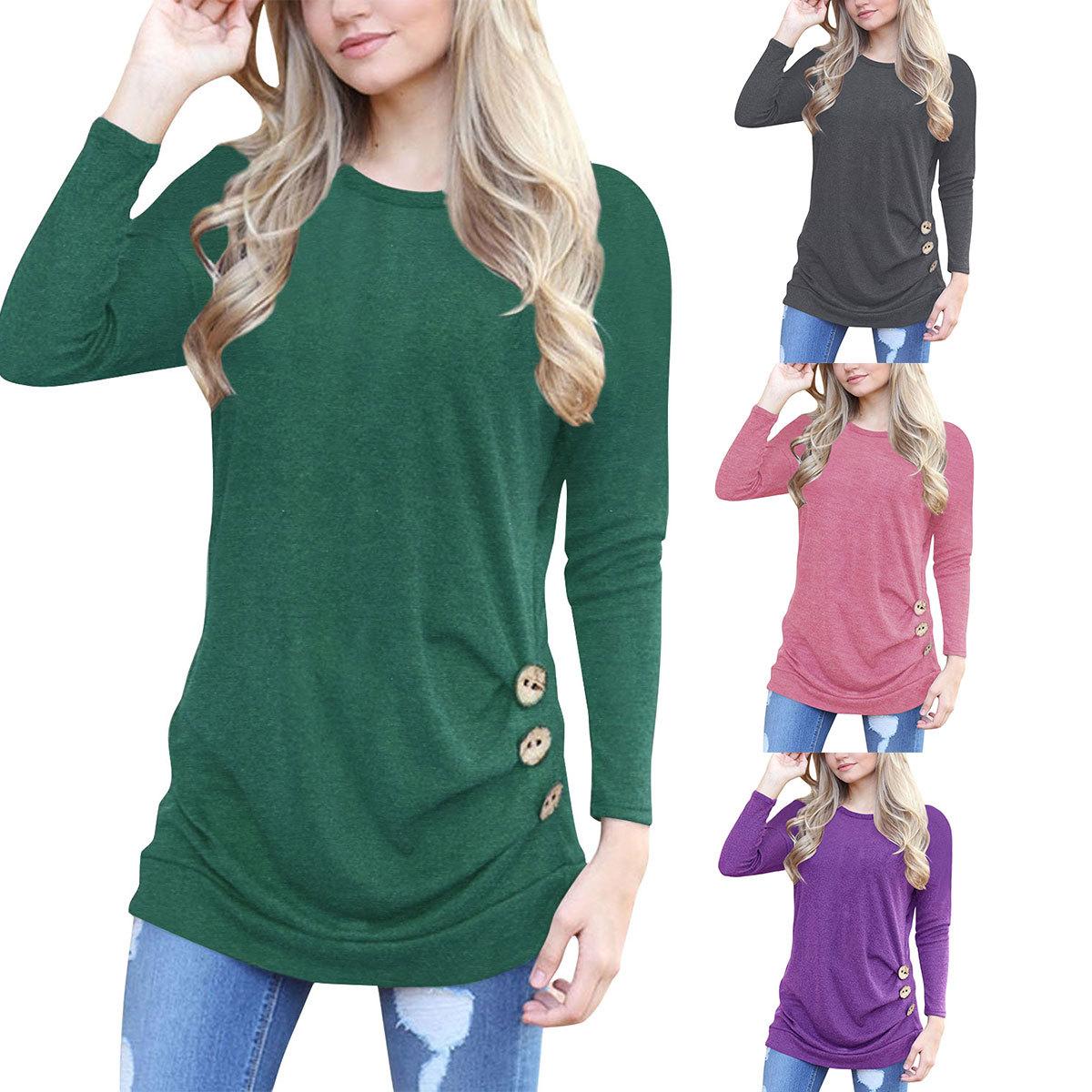 Cross border autumn new European and American women's large Amazon pop round neck Raglan long sleeve button decoration T-shirt