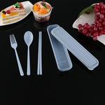 小麦秸秆餐具套装  学生便携环保小麦餐具 勺叉筷三件套餐具批发