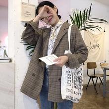 中长款2018秋装新款韩版宽松双排扣学生 西服格子西装休闲外套女