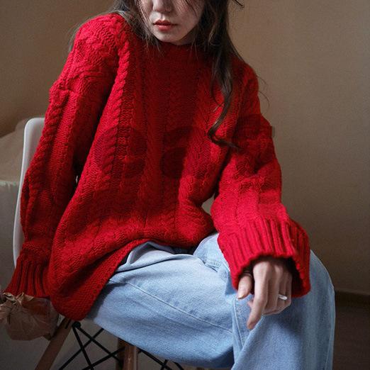 秋冬韩版套头圆领宽松外穿慵懒圣诞红大红色原宿复古麻花针织毛衣