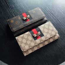 欧美经典老花皮长款女钱包牛皮时尚两折大钞卡位女士咖啡色蜜蜂