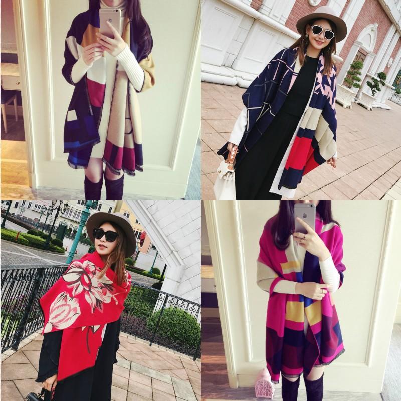 韩版大披肩长款双面百搭围巾披肩两用仿羊绒夏空调房秋冬季加厚女