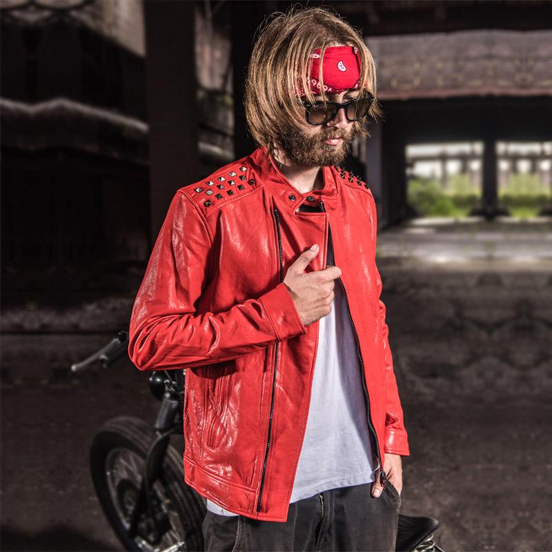 2017新款男士真皮皮衣修身韩版立领青年机车皮夹克红色潮外套男装
