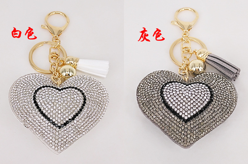 New Korean Velvet Diamond Love Tassel Bag Car Ornament Peach Heart Keychain  NHAP247349