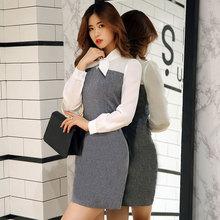 实拍2017秋装新款韩版女装拼接包臀连衣裙OL气质修身显瘦长袖短裙