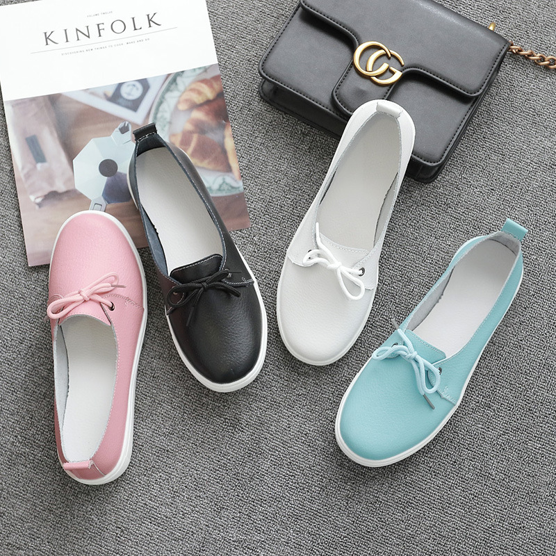 Small White Shoes Women's Leather Single Shoes Board Shoes Women Flat Casual Shoes Nurse Shoes Student Shoes Korean Version Of Lace Up