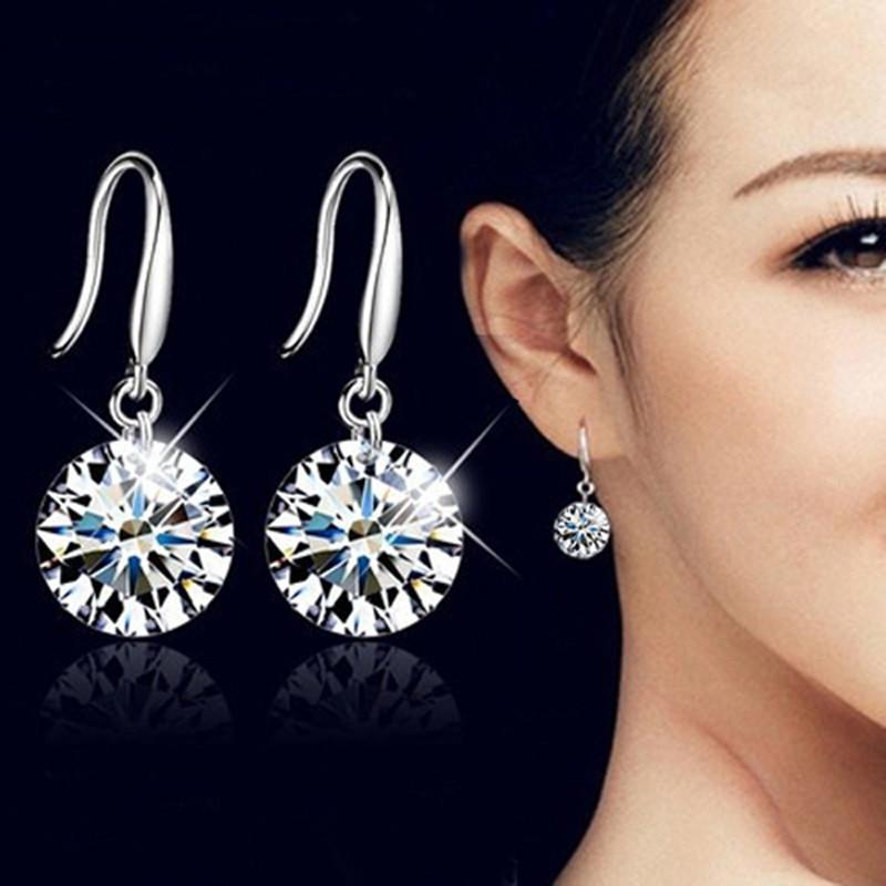 欧美时尚耳饰圆形锆石耳钉镶钻水晶耳坠耳环合金百搭小饰品耳环