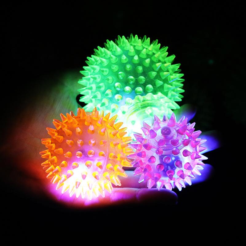 7.5CM闪光弹力按摩球 跳跳球 带刺球 发泄弹力球 地摊夜市批发
