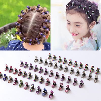 24pcs Princess girls stage performance bling rhinestones hair clip ornament headwear baby  headdress barrette clip small claw clip