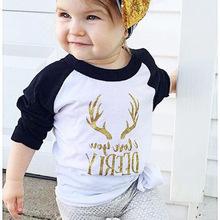 卡通鹿角字母女童白色打底衫长袖上衣儿童圆领t恤外贸童装男童T恤