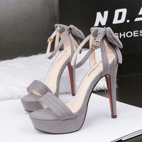 5189-1 han edition style waterproof peep-toe heels one word with bowknot sexy sandals
