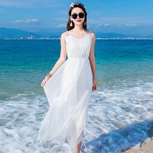波西米亚海边度假真丝连衣裙夏纯白吊带桑蚕丝海滩沙滩长裙仙
