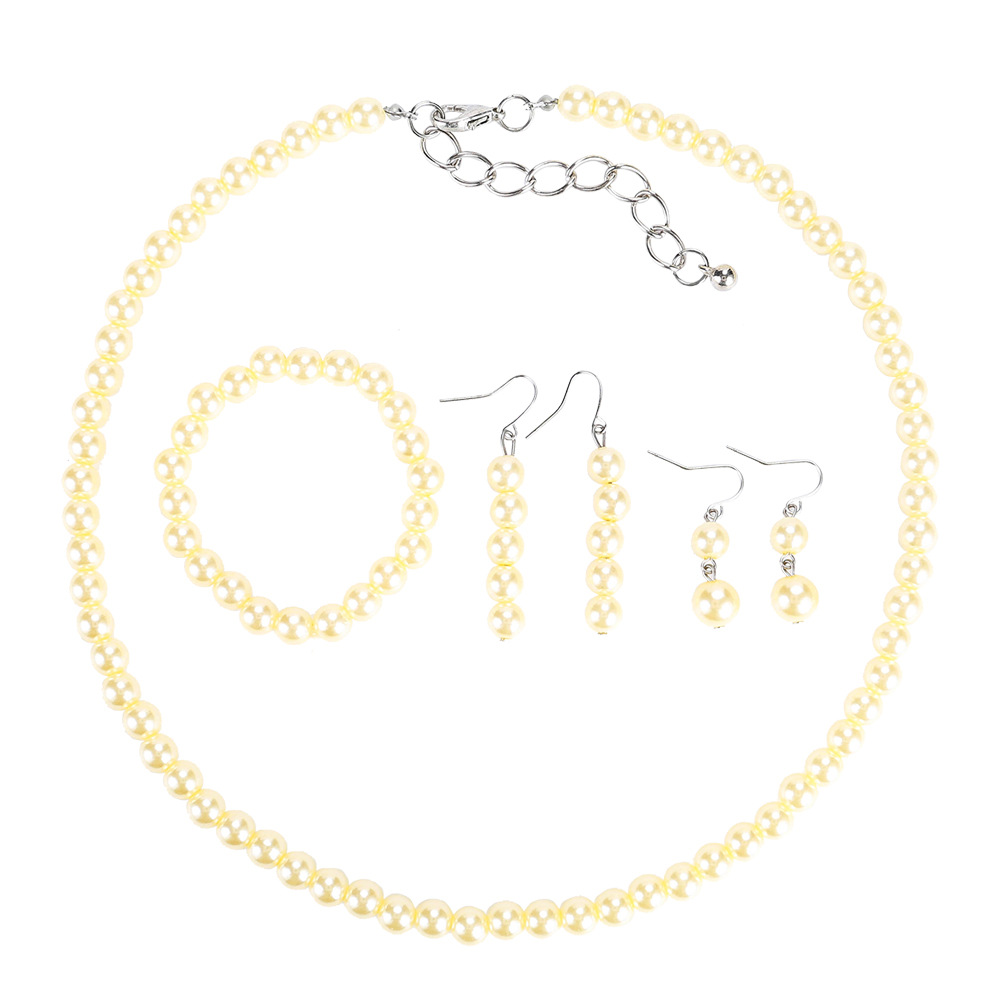 Exotic alloy plating Necklace Set (white)NHJE0466-white