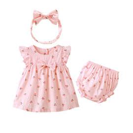 童裙童装夏季韩版纯棉短袖字裙宝宝连衣裙可爱婴儿裙三件女童套装