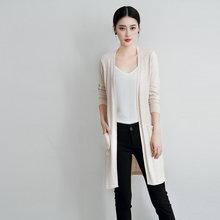 女春夏薄款開衫 側開叉針織衫外套中長款毛衣寬松帶兜防曬衫