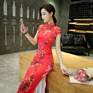 Women red floral chinese dresses qipao Cheongsam long Lady performance Dress