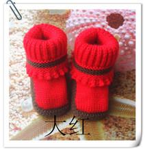 8号纯手工毛线鞋新生儿童宝宝鞋编织婴儿鞋 学步童鞋批发拼色666