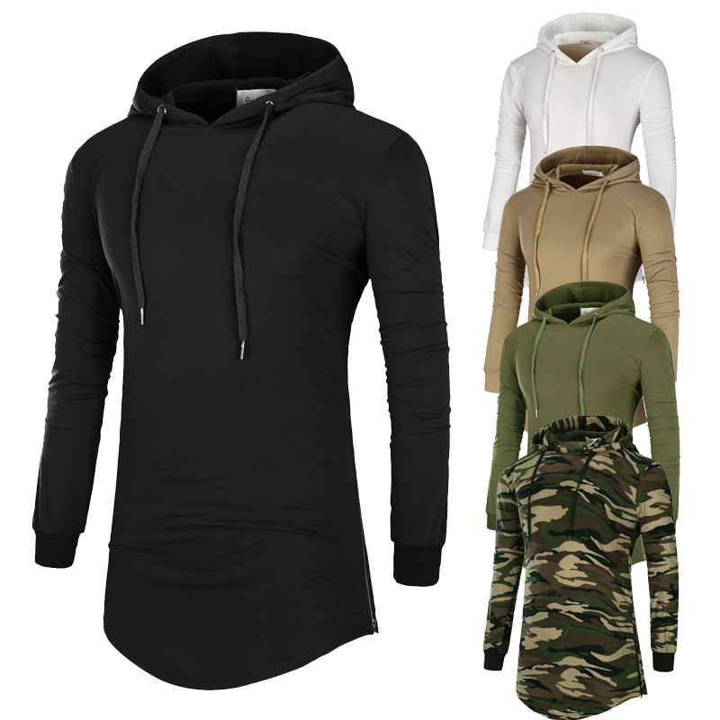 Foreign trade new men's camouflage long sleeve hooded t-shirt men's medium and long slim bottoming shirt thin casual top