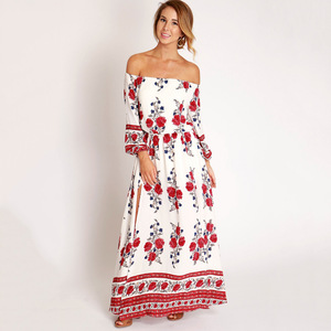 EBay speed sell hot sell long skirt, European and American fashion, a printed fork and long dress wholesale.