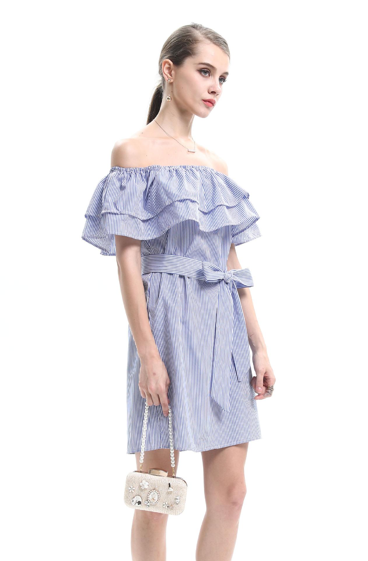off-the-shoulder one-line collar ruffle striped dress NSJR36731