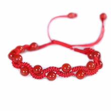 天然红玛瑙红绳手链 手工编织本命年手绳 女款红绳饰品礼物批发