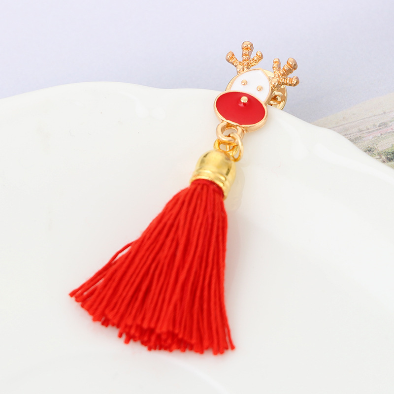 Korean version alloy plating brooch (Reindeer red)NHGY0538-Reindeer red