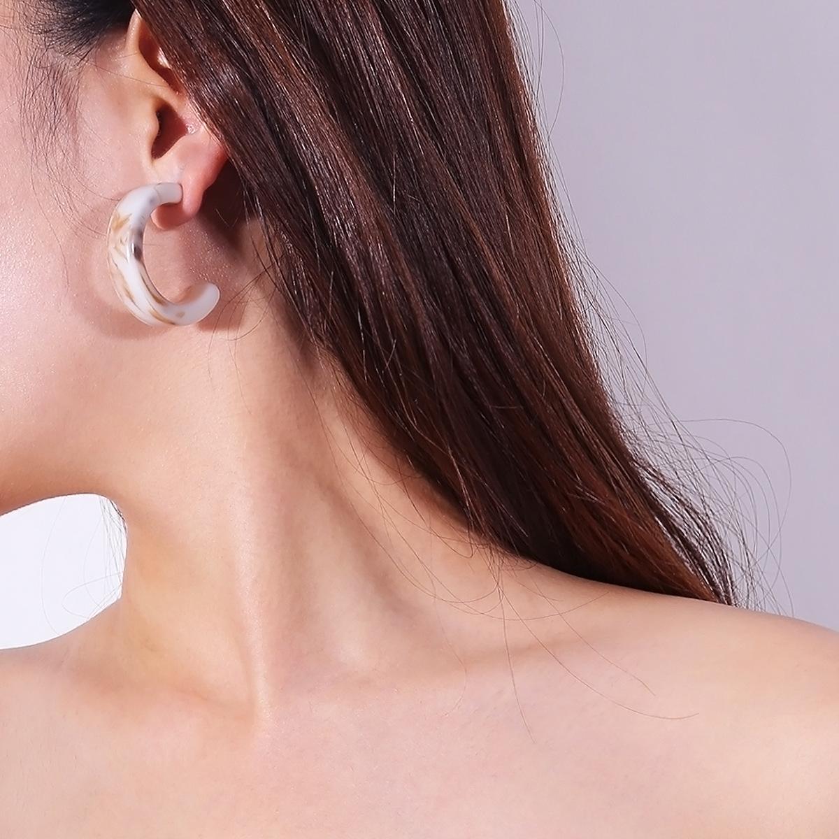 Simple Acrylic earring Geometric NHXR1764-Black 1049