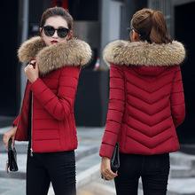 短款棉衣女2018新款冬季大毛領韓版女裝外套連帽修身顯瘦小棉襖c