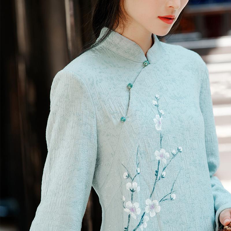 卿淑斋2020秋冬季新款中式连衣裙女雪尼尔提花国风手绘中长款裙子