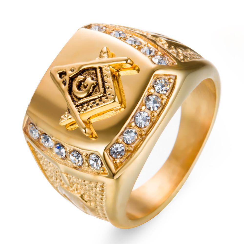 2019 Stainless Steel Man Ring Diamond Gold Masonic Ring Ag