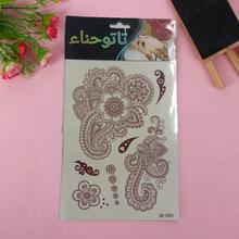 厂家定制 ?#20449;?#27454;海娜纹身贴纸 彩色花朵图案纹身贴 蕾丝彩色贴纸