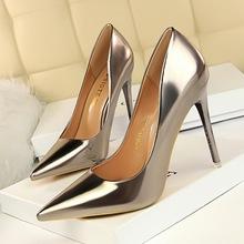 9511-7欧美风时尚金属跟高跟鞋女鞋高跟浅口尖头性感夜店显瘦单鞋