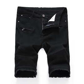 男士外贸高街拉链弹力修身休闲牛仔白色黑色短裤打揽破洞男装中裤