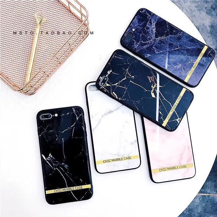 Hanfeng chic marbled apple 8plus mobile phone shell tempered glass iphone6s all-inclusive soft shell 7p set