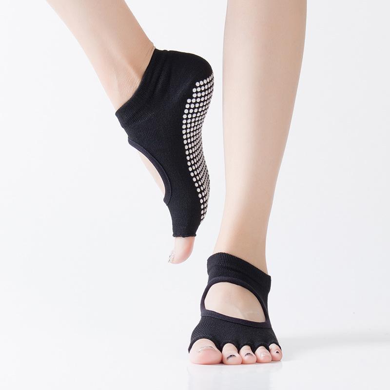 恒聚挖孔点胶瑜伽袜子女士防滑露趾露背五指袜运动袜厂家批发定做