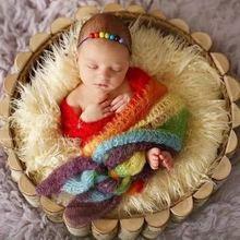 彩虹摄影毯子 欧美新生儿裹布摄影毯 摄影道具