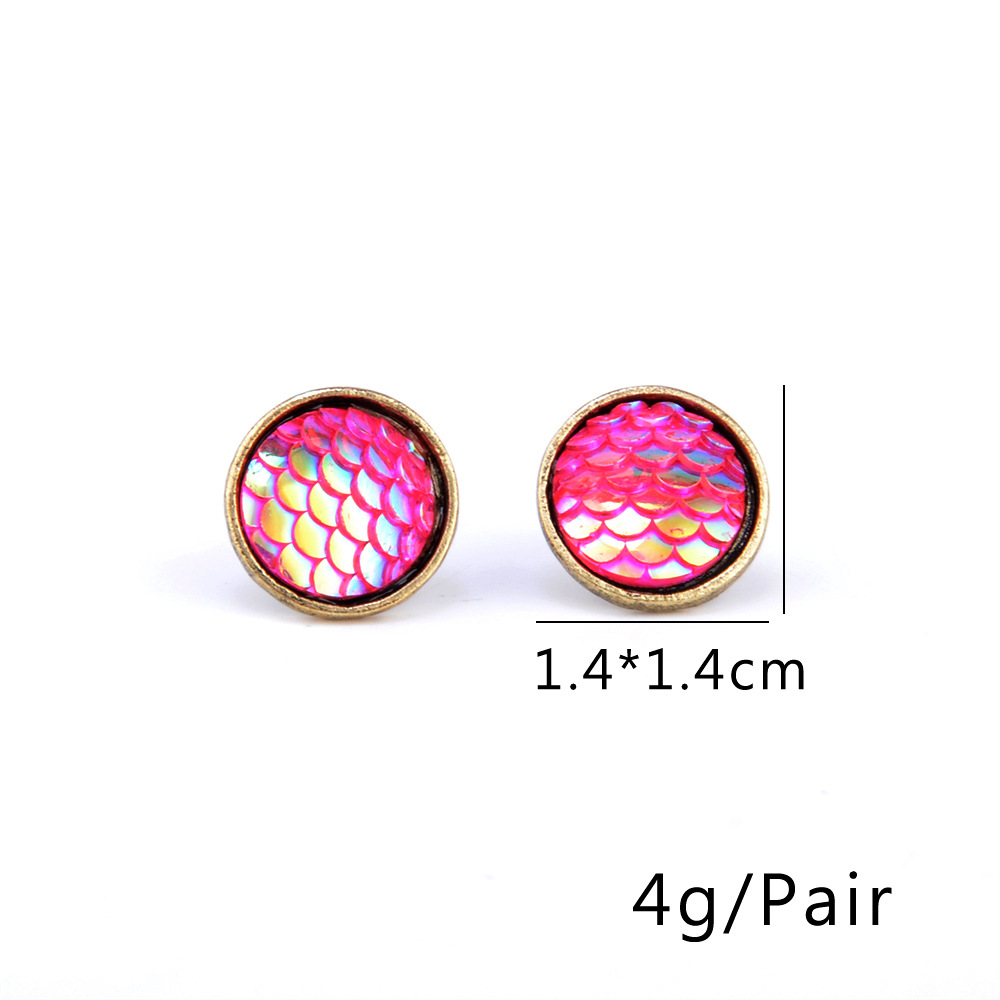 New Fashion Fish Scale Time Gem Flat Diamond Ear Studs Wholesale NHPV204688