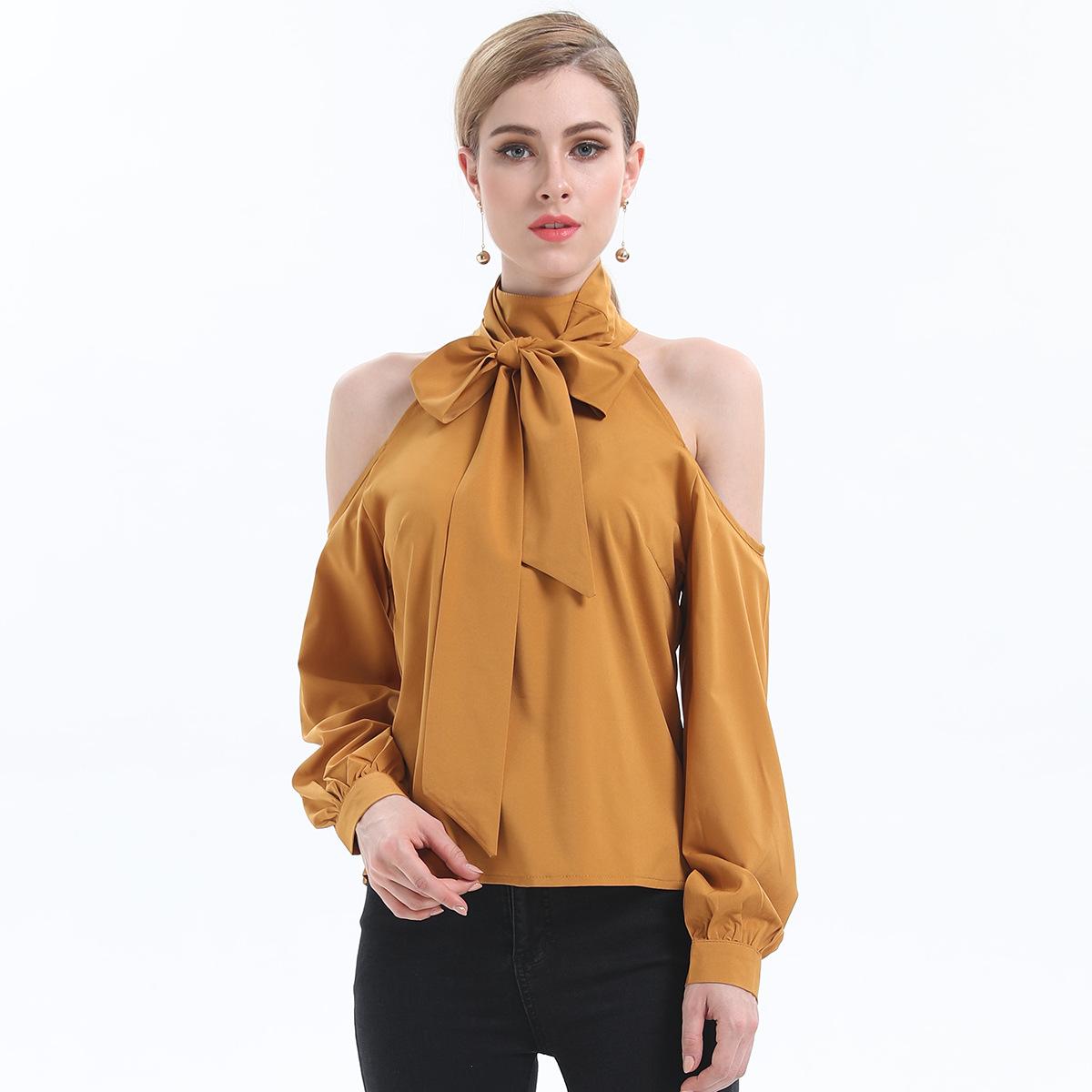 跨境女裝代理2020新款歐洲站夏季時尚性感露肩長袖襯衫T恤JR3718