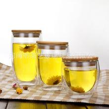 供應竹木蓋雙層玻璃咖啡杯創意透明雙層蛋形隔熱 啤酒杯泡茶杯