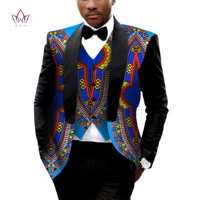 2017时尚高品质流行非洲蜡染印花男士西服马甲套装工厂直销