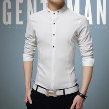 秋季男士长袖衬衫青年韩版修身棉麻立领寸衫透气薄款亚麻外穿衬衣