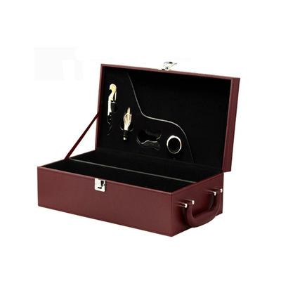 皮质红酒盒双支红酒皮盒通用现货棕色葡萄酒包装盒现货葡萄酒礼盒