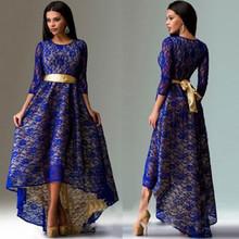 ebay速賣通2017歐美外貿新款蕾絲裙不對稱下擺燕尾修身性感連衣裙