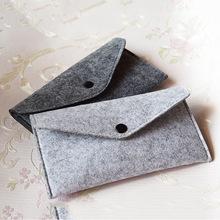 毛毡零钱包定制logo新款毛毡卡包眼睛包带扣毛毡手机零钱包