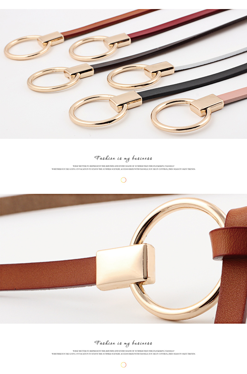 Fashion woman genuine leather metal buckle belt strap for dress jeans NHPO134091