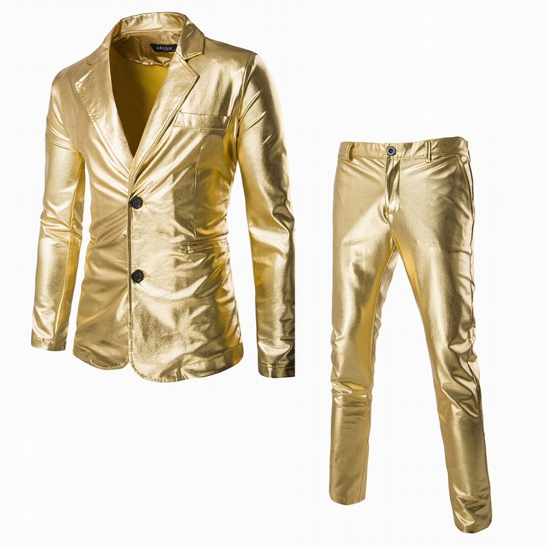 Foreign trade men's and men's gilt fabric slim fitting Western men's 2-button suit for performance wear bright face suit