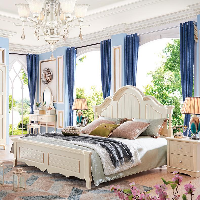 简约现代1.5/1.8米双人婚床实木床 单人橡木床头韩式家具厂家